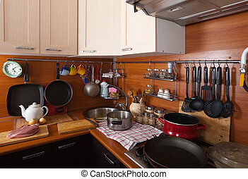 Interior of kitchen with utensils