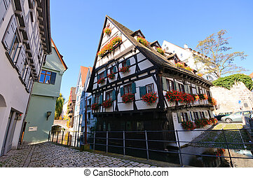 Ulm, Germany - Schiefes Haus(crooked house) in Ulm, Germany.