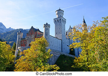 Neuschwanstein Castle is a 19th-century Romanesque Revival...