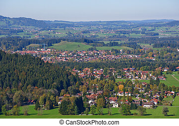 Fussen, Germany - Cityscape of Fussen seen from the...