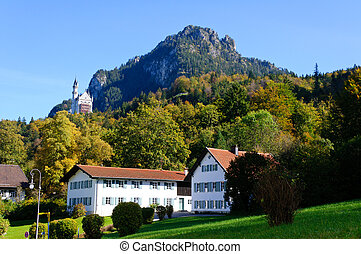 Neuschwanstein Castle and Village of Hohenschwangau in...