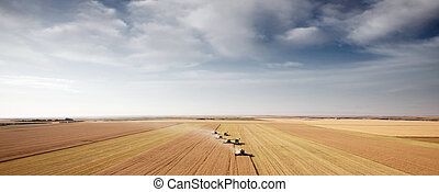 Harvest Aerial Landscape - Panoramic landscape with four...