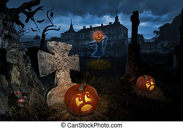 Halloween eve - Jack-o-lantern come alive in a cemetery near...