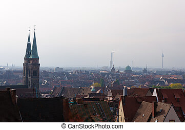 Old Town of Nuremberg seen from the - Nuremberg is a city in...