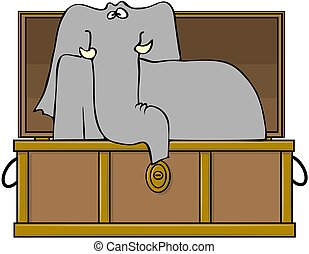 Elephant In A Trunk - This illustration depicts an elephant...