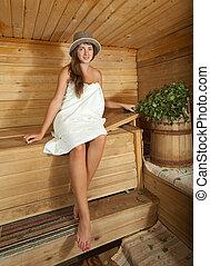 niña,  sauna