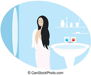 a girl or woman is in a bathroom - a girl or woman in a...