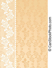 Lace Beige - Lace roses on a beige background