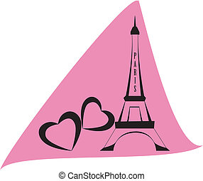 eiffel tower of Paris on pink backround