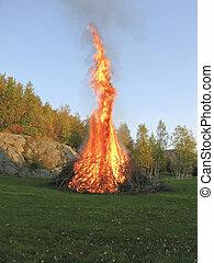 Bonfire - bonfire with large flames in autumn