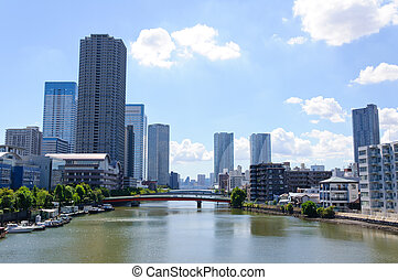 Tokyo, Japan - Cityscape of Tsukuda area in Tokyo, Japan