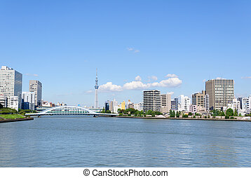 Tokyo, Japan - Tokyo Sky Tree and Sumida river. It located...