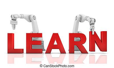Industrial, robotic, braços, predios, aprender,...