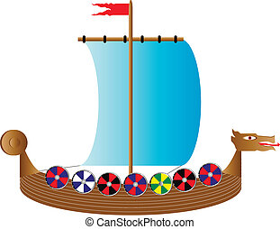 Viking ship on white - Vector illustration of a drekar...