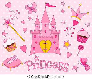 Sweet Princess Icons - Colorful set of Sweet Princess Icons...