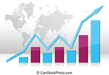 business graph illustration on white