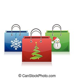 set of Christmas shopping bags illustration