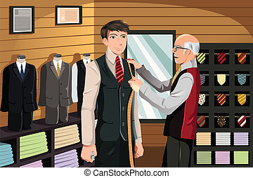 Tailor fitting for suit - A vector illustration of a man...