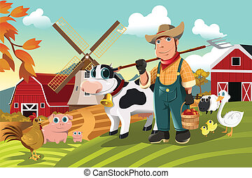 Farmer at the farm with animals - A vector illustration of a...