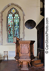 Pulpit and glass - The 18th century pulpit and stained glass...