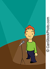 Stand up comedian - Shy stand up comedian standing on the...