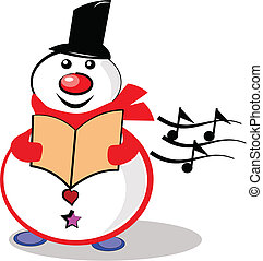 singing snowman - snowman singing carols at Christmas on...