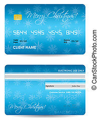 special blue credit card with Christmas design
