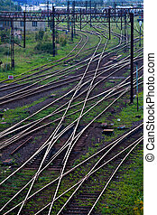 Railway network - Aerial view of a railroad track junction