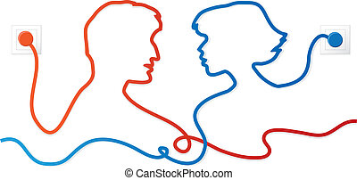 Communicating couple - Vector illustration of silhouettes...