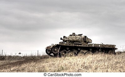 Israeli tank on Golan heights - Old israeli weapon on Golan...