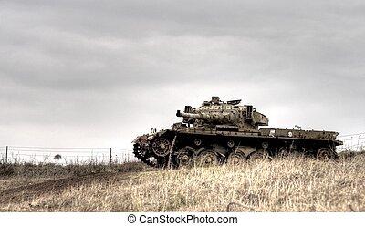 Israeli tank on Golan heights - Old israeli weapon on Golan...