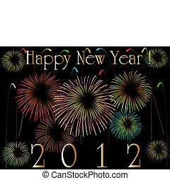 2012 card, eps8 - 2012 card with fireworks