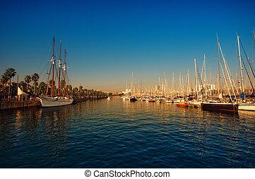 Port Vell , Barcelona - Spain - Port Vell just before sunset