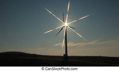 Windmill working against the sun