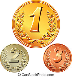 gold, silver and bronze medal for winning the competition with the image of a laurel wreath and the first, second, third place