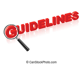 guidelines red text and magnify glass - guidelines or...