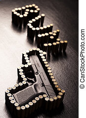 Gun - Ammunition and automatic handgun