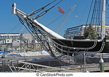 USS Constitution detail - detail of a sailing ship named...
