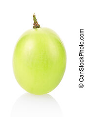 Grape berry isolated on white - Green grape berry closeup...
