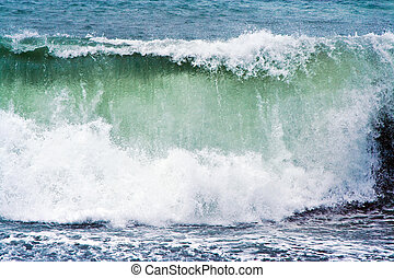 heavy waves at beach - heavy waves with white wave crest in...