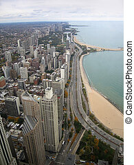 Chicago aerial view - coastal aerial view of Chicago (USA)