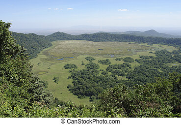 panoramic view over Arusha National Park - Arusha National...