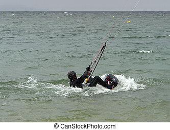 starting kite surfing