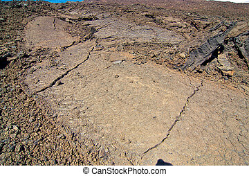 volcanic landscape - Under the volcano,cracked lava field