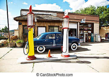 historic patrol station at Route 66 with oldtimer in superb...