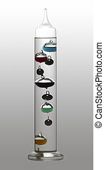 Galileo thermometer - temperature theme showing a Galileo...