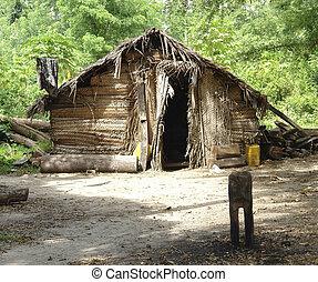 poor barrack in the jungle - poor cabin in Zanzibar in front...