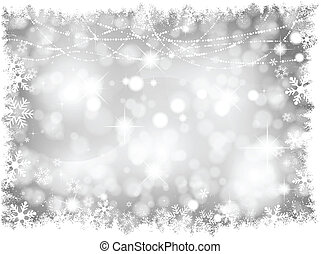 Silver Christmas lights Background - Decorative silver...