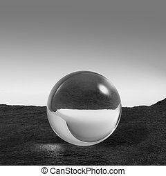 crystal ball on stone surface - a clear crystal ball on...