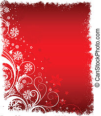 Floral winter background - Decorative floral Christmas...